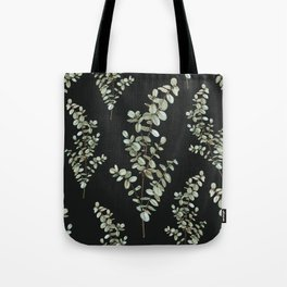 Baby Blue Eucalyptus Watercolor Painting on Charcoal Tote Bag