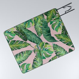 Jungle Leaves, Banana, Monstera Pink #society6 Picnic Blanket