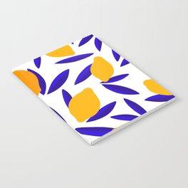Blue and yellow Lemon Summery Pattern Notebook