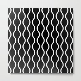 Classic Ogee Stripe Pattern 232 Black and White Metal Print