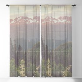 Mountain Sunset Bliss - Nature Photography Sheer Curtain