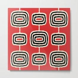 Mid Century Modern Atomic Rings Pattern 222 Black Beige and Red Metal Print