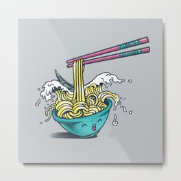 The Great Wave of Noodles with chopstick Metal Print