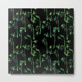 Modern lime green black chinese bamboo tree Metal Print