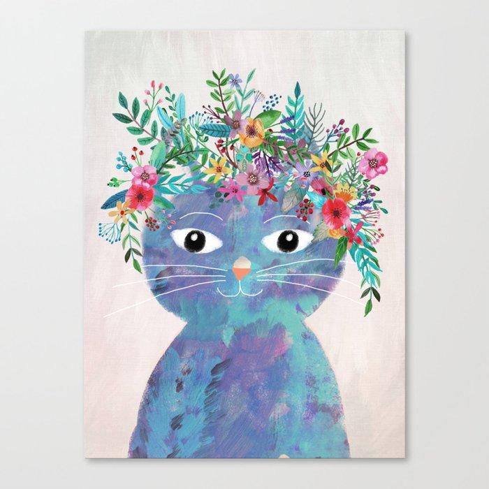 Flower cat II Leinwanddruck
