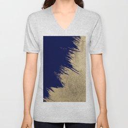 Navy blue abstract faux gold brushstrokes Unisex V-Neck