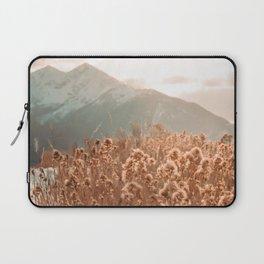 Golden Wheat Mountain // Yellow Heads of Grain Blurry Scenic Peak Laptop Sleeve