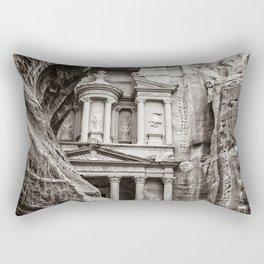 Petra | Black and White Al Khazneh (The Treasury) Incredible Archeological City Jordan Rectangular Pillow
