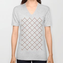 Sherwin Williams 2019 Color of the Year Cavern Clay SW7701 Thin Line Stripe Grid on White Unisex V-Neck