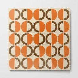Mid Century Modern Half Circle Pattern 521 Beige Orange and Brown Metal Print