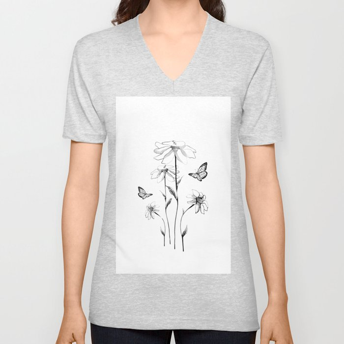 Flowers and butterflies 2 Unisex V-Neck