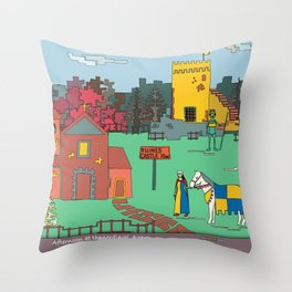 Afternoon at the Medieval Age Throw Pillow