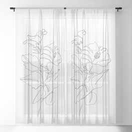 Floral one line drawing - Hibiscus Sheer Curtain