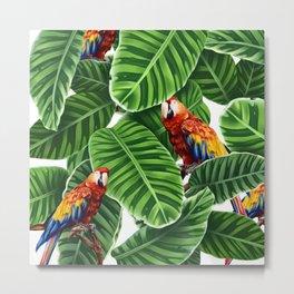 tropical leaves macaw pattern Metal Print