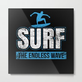 Wave Wakeboard Gift Idea Metal Print