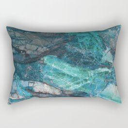 Cerulean Blue Marble Rectangular Pillow