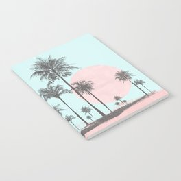 Beachfront palm tree soft pastel sunset graphic Notebook