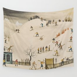 The Practice Slope winter skiing landscape painting by Franz Sedlacek  Wall Tapestry