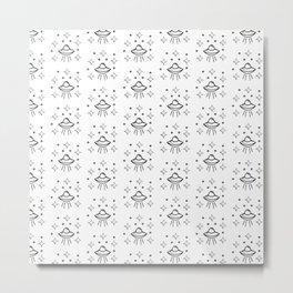 Spaceship Pattern in white Metal Print