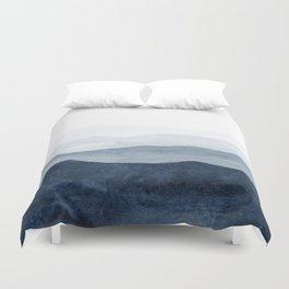 Indigo Abstract Watercolor Mountains Bettbezug