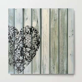 Barnwood and Filligree Heart 1 Metal Print