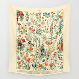 Wildflower Diagram // Fleurs II by Adolphe Millot 19th Century Artsy Floral Science Flower Artwork Wall Tapestry