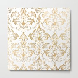 Gold foil swirls damask 17 Metal Print