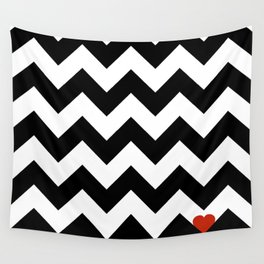 Heart & Chevron - Black/Classic Red Wall Tapestry
