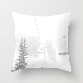 Ski Lift Horizon // Ride to the Peak Epic Adventure Whiteout Black and White Minimal Photograph  Throw Pillow