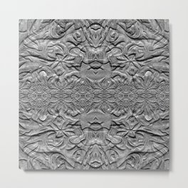 Vintage Grey Textured Abstract Design Metal Print