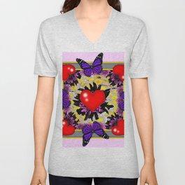 Red Valentine Hearts Purple Butterflies Floral Art Unisex V-Neck