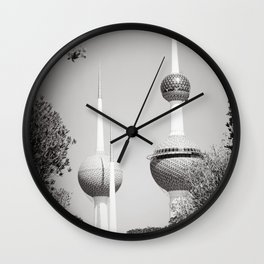 Kuwait Towers Black and White Wall Clock