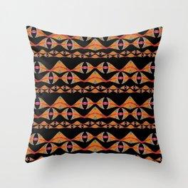 Neo Tribal Polynesian Vintage Oil Waves & Fins Throw Pillow
