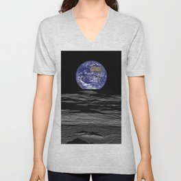 Earthrise over Compton crater Unisex V-Neck