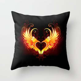 Angel Fire Heart with Wings Throw Pillow