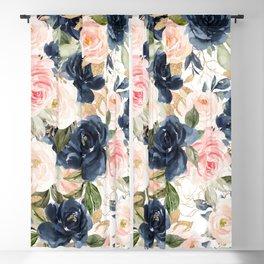Navy Pink Watercolor Floral Pattern Nursery Flowers Blackout Curtain