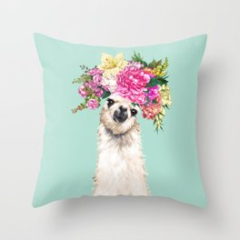 Flower Crown Llama in Green Throw Pillow