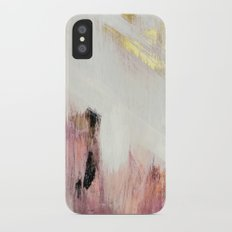 Sunrise [2]: a bright, colorful abstract piece in pink, gold, black,and white iPhone X Slim Case