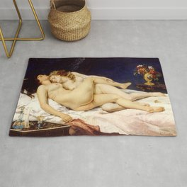 "Gustave Courbet ""The Sleep - Le Sommeil - Sleepers"" Rug"