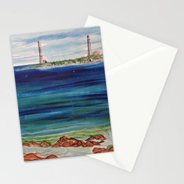 Thatcher island lighthouses on a peaceful day Stationery Cards