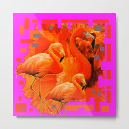 TROPICAL  FUCHSIA ART DECO FLAMINGOS  ART Metal Print