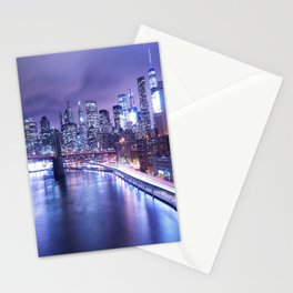 New York City Night Lights : Periwinkle Blue Stationery Cards