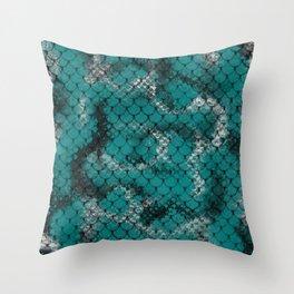 Teal Green Serpent Snake Scales Pattern Design Throw Pillow