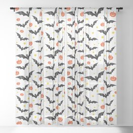 Halloween Pumpkins And Bats Sheer Curtain