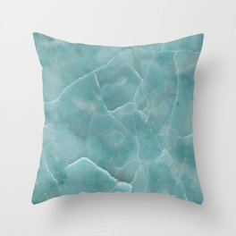 Ice Green Marble Throw Pillow