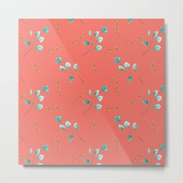 Blue teal turquoise watercolor leaves pattern on living coral Metal Print