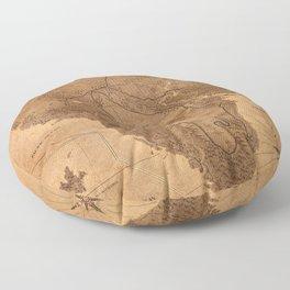 Jurassic Park - Map - Sepia Floor Pillow