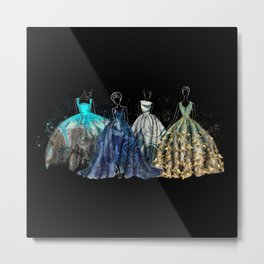 Evening Gowns Collection Fashion Illustration Metal Print