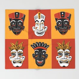 TIKI Tribal Mask Designs patterns illustration  Throw Blanket