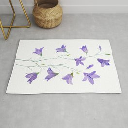 purple wildflower harebell watercolor Rug